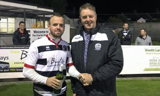 Roger Knight presents Man of the Match award